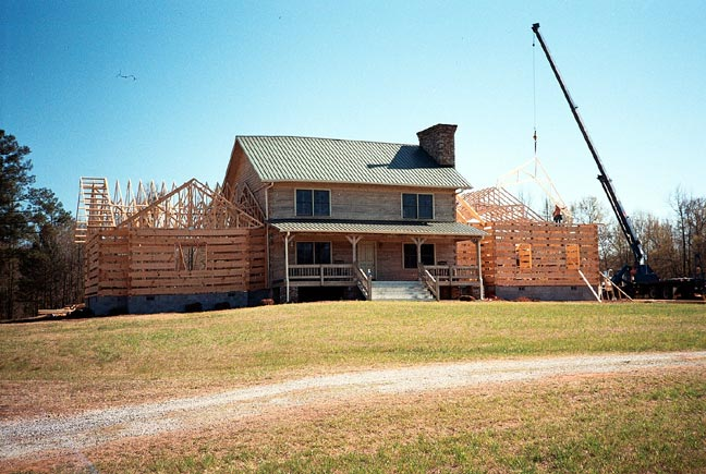 Hearthstone log and timber frame homes work in progress for Log home addition