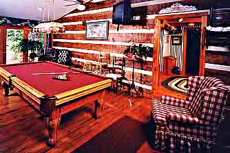 View of pool table