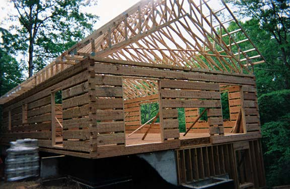 Hearthstone log and timber frame homes work in progress for Single story timber frame homes